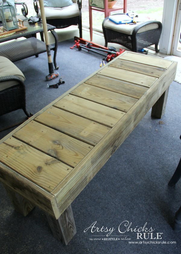 Simple DIY Outdoor Bench Thrifty Project Recycled Wood Artsy Chicks Rule