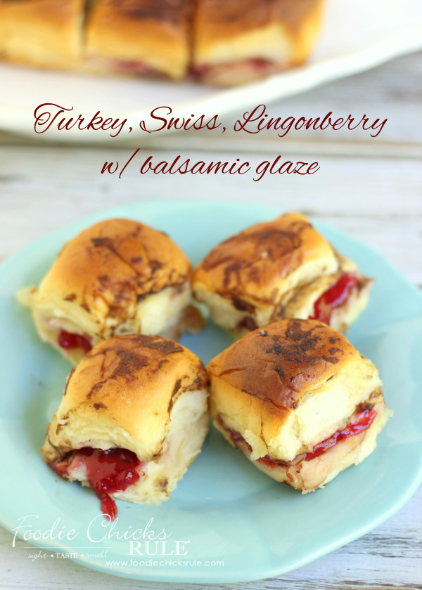 Turkey, Swiss Rolls with Lingonberry & Balsamic Glaze - These are so good and easy to throw together! YUM - #recipe #turkey foodiechicksrule.com