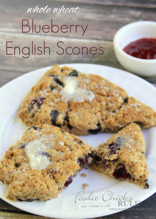 Whole Wheat English Blueberry Scones  - Classic recipe! #recipe #scones foodiechicksrule.com