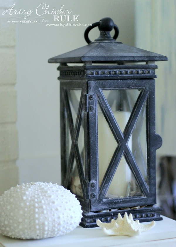 Coastal Summer Home Tour - with Balsam Hill - Lantern with Shells - #nautical #coastal #homedecor artsychicksrule.com