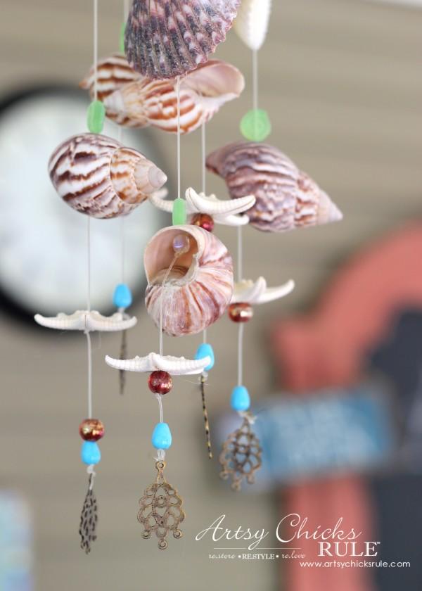 Diy seashell bead wind chime artsy chicks rule for Shell wind chimes diy