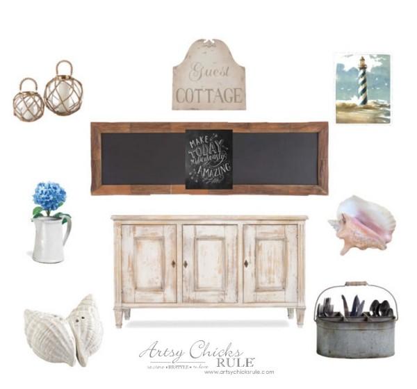 Dining Room Dreaming - Farmhouse Coastal Cottage Dreamboard - #diningroom #dreamboard #coastal #farmhouse artsychicksrule