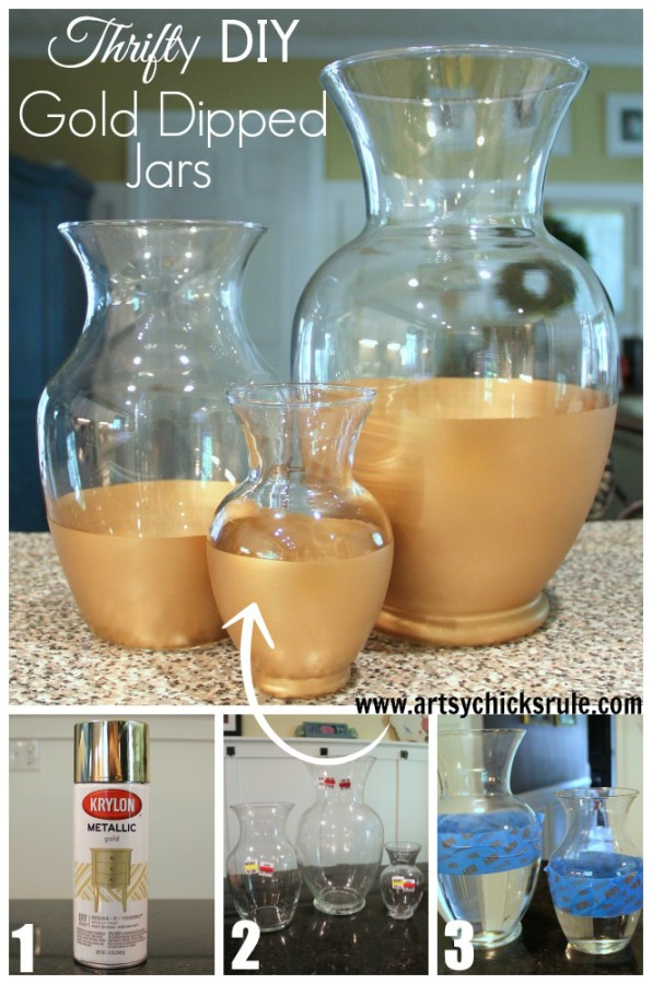Easy DIY Gold Dipped Jars - TUTORIAL - Thrift Store for $3.50 (compared to retail of $50) - #diy #golddipped artsychicksrule.com