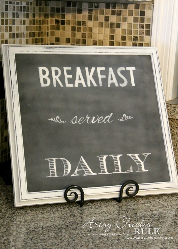 Breakfast Served Daily Chalkboard Art - Trash to Treasure Transformations - EASY Chalk ART Makeover!! -  artsychicksrule.com