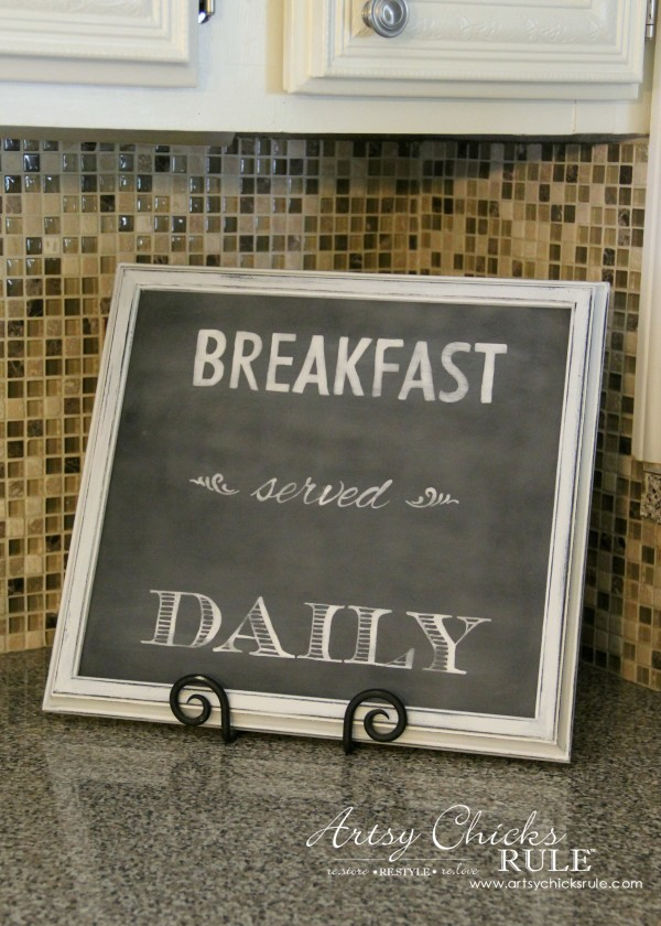 Breakfast Served Daily Chalkboard Art - Trash to Treasure Transformations - Thrift Store Makeover - artsychicksrule.com