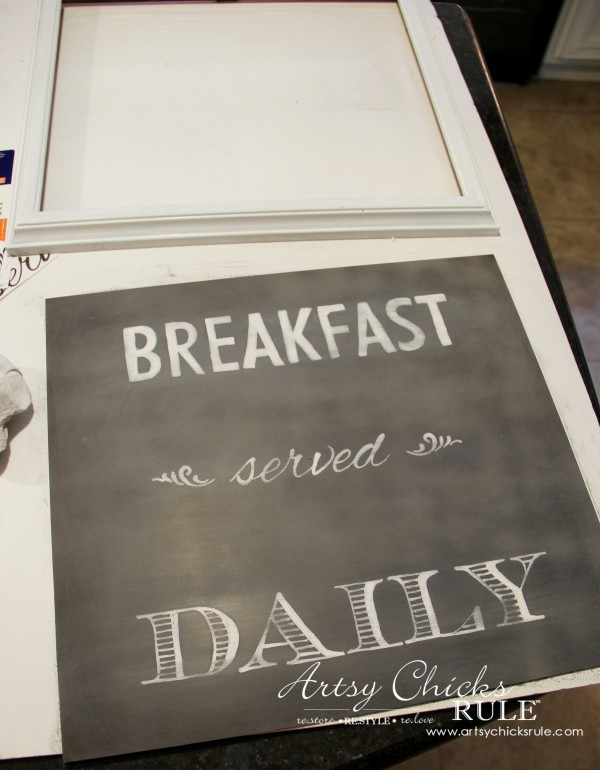 Breakfast Served Daily Chalkboard Art - Trash to Treasure Transformations - lightly sanded to give it a chalk look - artsychicksrule