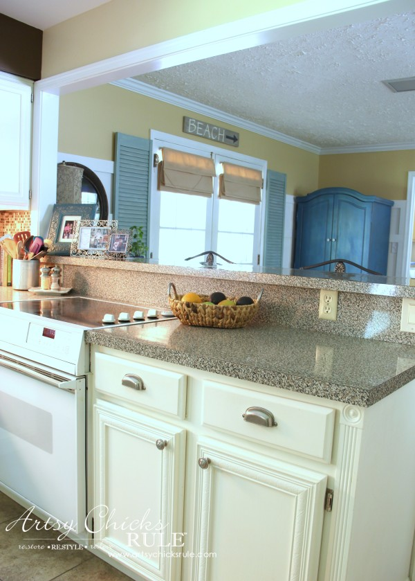 Kitchen Makeover - AFTER Half Wall Removed - #kitchen #Makeover artychicksrule