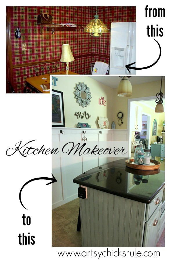 Kitchen-Makeover-Before-and-After-Back-Wall-Corner- #kitchen #Makeover- artychicksrule
