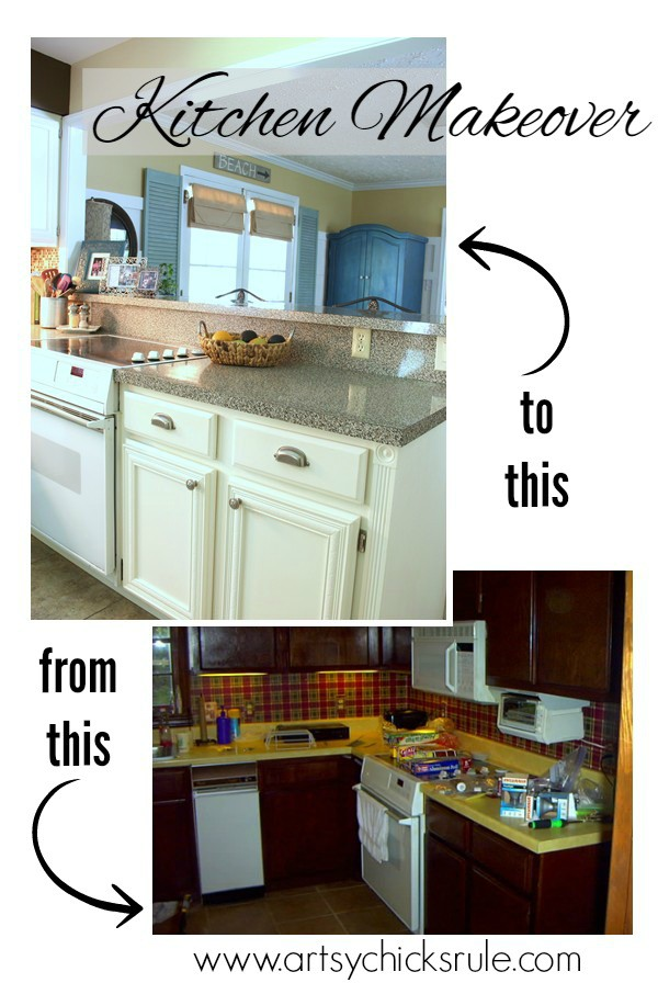 Kitchen-Makeover-Before-and-After-Half-Wall-Removed- #kitchen #Makeover- artychicksrule