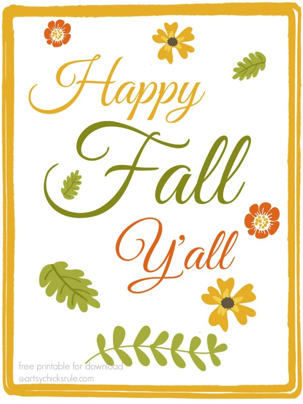 Dramatic image inside happy fall y all printable
