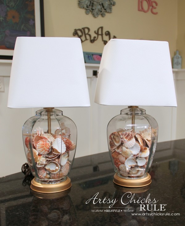 Thrifty Coastal Lamp Makeover - AFTER - New Shades and Shells -artsychicksrule