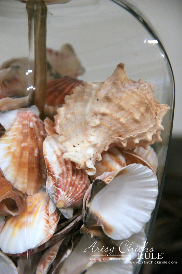 Thrifty Coastal Lamp Makeover - Filled Lamps with Seashells -artsychicksrule