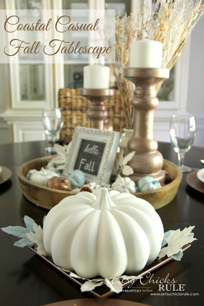 Coastal casual fall tablescape on a budget artsy for Tablescape decor
