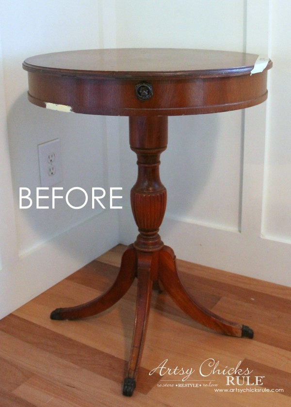 3 Different BLUES!! French Styled Side Table Makeover - artsychicksrule.com