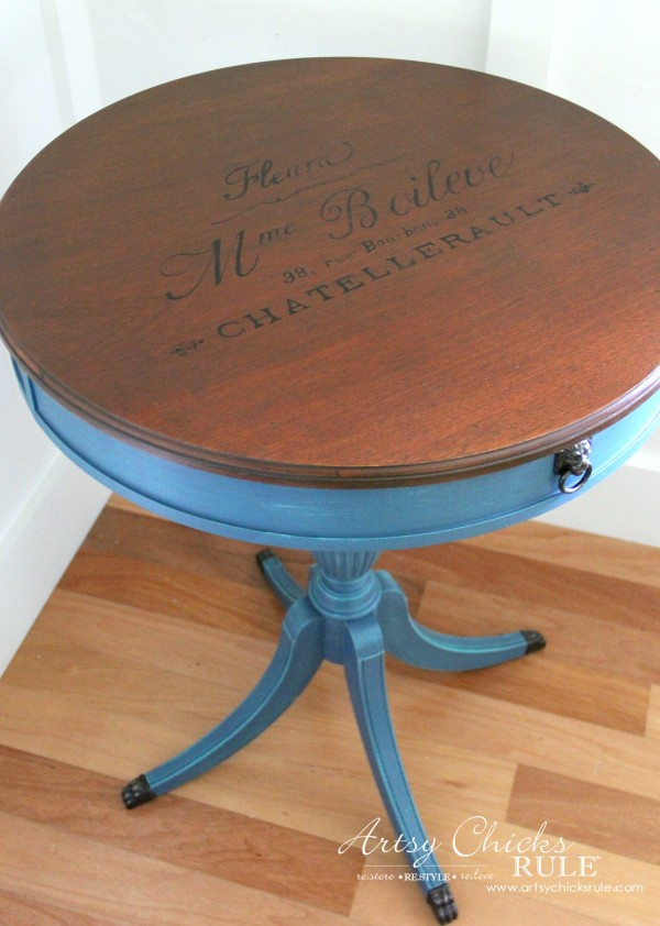 French Table Makeover - French Graphics - artsychicksrule #aubussonblue #chalkpaint #frenchdecor