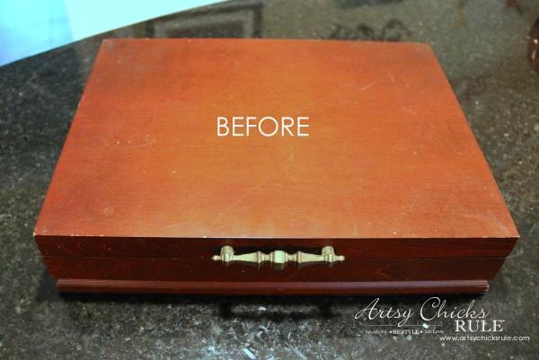 Robin's Egg Blue Beach Box - (Thrifted Flatware Box Makeover) - BEFORE - #beachdecor #coastal #DIY artsychicksrule