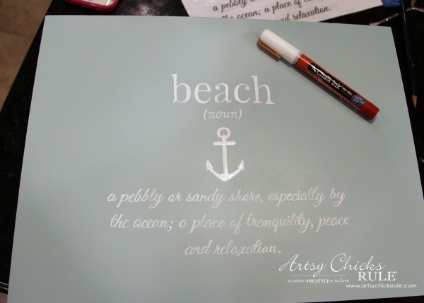 Robin's Egg Blue Beach Box - (Thrifted Flatware Box Makeover) - EASY with this Chalk Pen - #beachdecor #coastal #DIY artsychicksrule