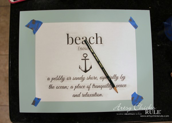 Robin's Egg Blue Beach Box - (Thrifted Flatware Box Makeover) - Transferring graphic - #beachdecor #coastal #DIY artsychicksrule