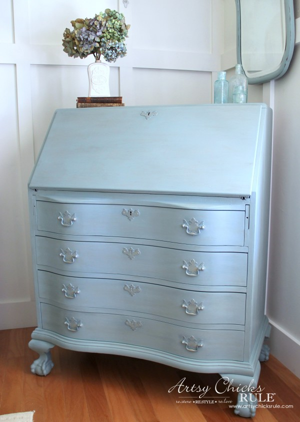 Secretary Desk Makeover (Chalk Paint® by Annie Sloan) - AFTER Side - #MadeItMyOwn #sp #chalkpaint artsychicksrule.com