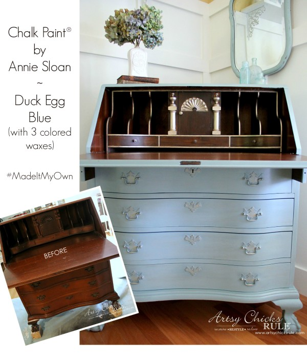 secretary desk makeover w duck egg blue 3 colored waxes chalk paint by annie sloan artsy. Black Bedroom Furniture Sets. Home Design Ideas