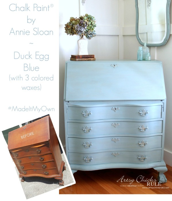 Secretary Desk Makeover (Chalk Paint® by Annie Sloan) - Before and After - #MadeItMyOwn #sp #chalkpaint artsychicksrule.com