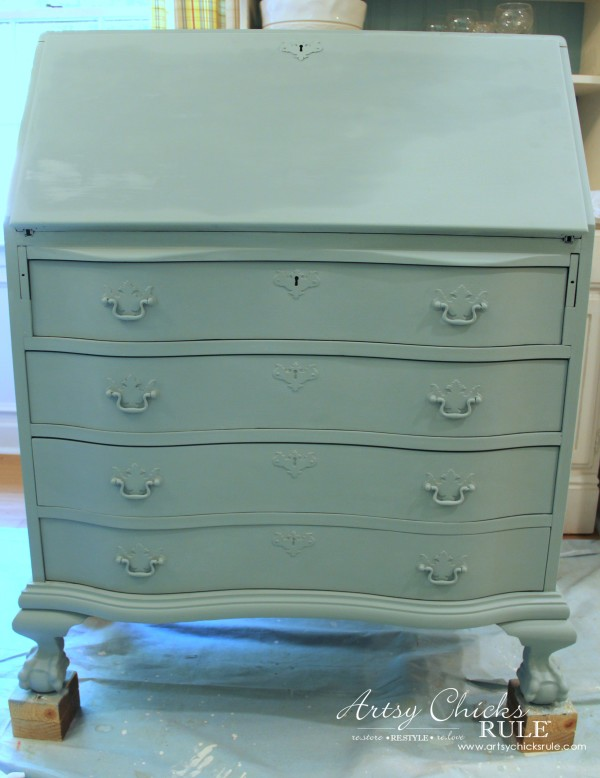 Secretary Desk Makeover (Chalk Paint® by Annie Sloan) - DUCK EGG BLUE - #MadeItMyOwn #sp #chalkpaint artsychicksrule