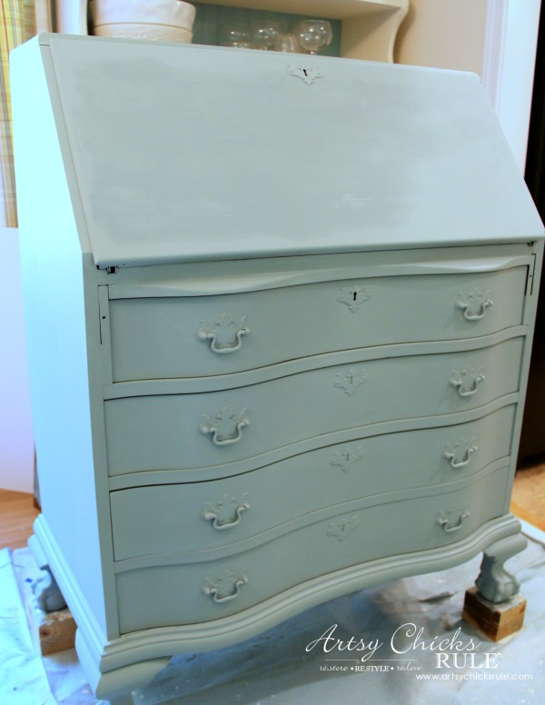 Secretary Desk Makeover (Chalk Paint® by Annie Sloan) - Duck Egg Blue Only - #MadeItMyOwn #sp #chalkpaint artsychicksrule