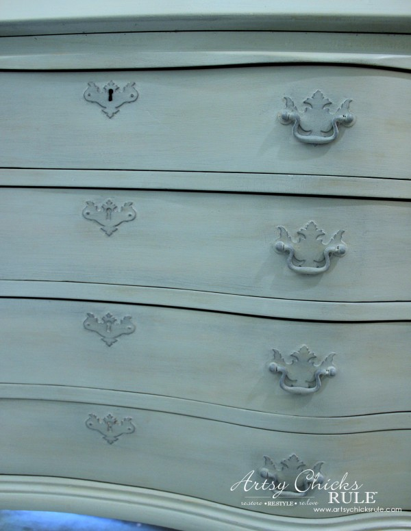 Secretary Desk Makeover (Chalk Paint® by Annie Sloan) - adding more depth with Aubusson Blue tinted wax - #MadeItMyOwn #sp #chalkpaint artsychicksrule