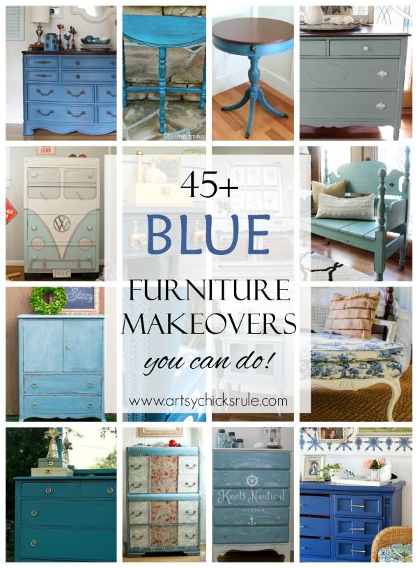 45+ BLUE Furniture Makeovers (you can do!) - artsychicksrule