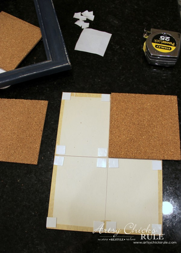 A Faux Weathered Sign, No Sew Pillow and Fancy Corkboard - Making a corkboard - artsychicksrule