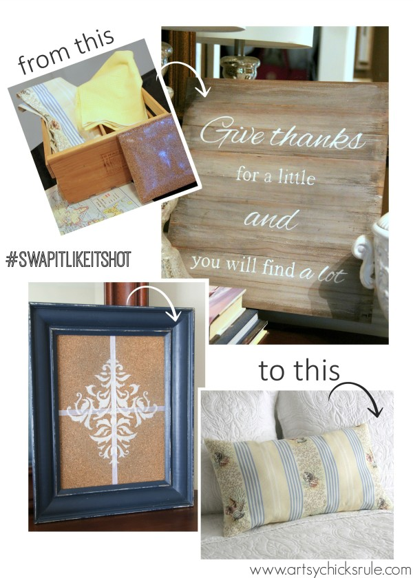 A Faux Weathered Sign, No Sew Pillow and Fancy Corkboard - Swap It Like It's Hot Challenge - artsychicksrule