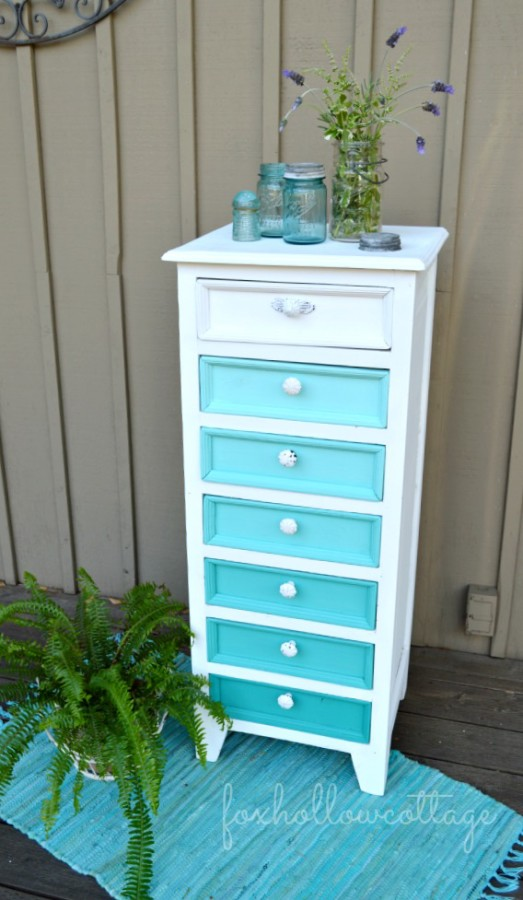 Aqua-Ombre-Furniture-Makeover-Fox Hollow Cottage