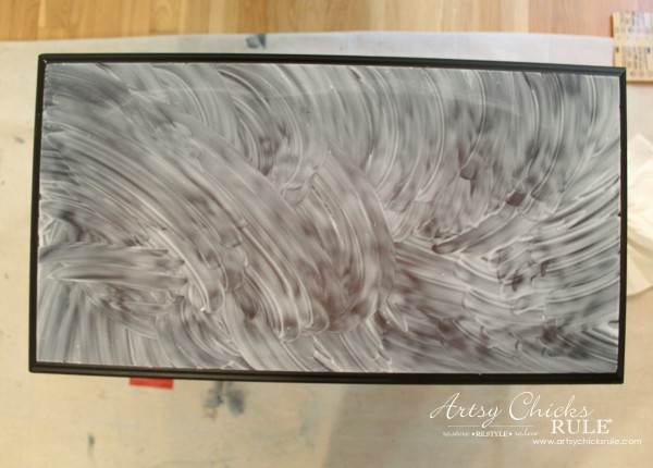 Easy Makeover with Spray Paint, Mod Podge & Wrapping Paper - Apply Mod Podge - artsychicksrule #modpodge