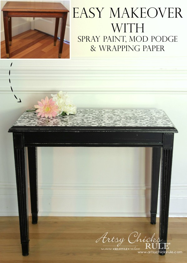 Easy Makeover with Spray Paint, Mod Podge & Wrapping Paper - SUPER EASY DIY - artsychicksrule #modpodge