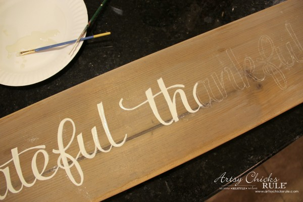 Grateful, Thankful, Blessed DIY Weathered Sign - Hand Painting In - artsychicksrule