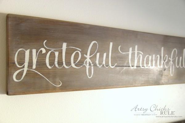 Grateful, Thankful, Blessed DIY Weathered Sign - Scrap Wood No Cost Sign - artsychicksrule