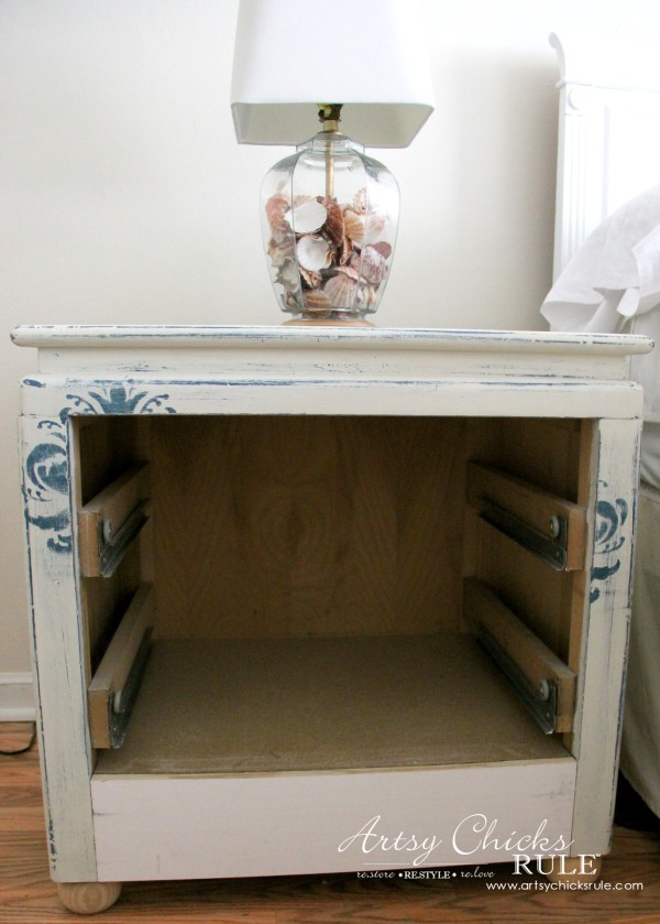 Master Bedroom Makeover Progress - Budget Makeover - Modifying thrift store night stand - artsychicksrule