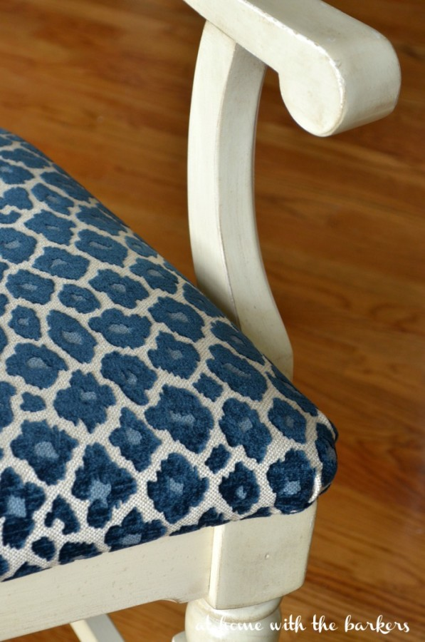 One-Room-Challenge-Chair-Makeover-with-Simba-Navy-Fabric- At Home With the Barkers