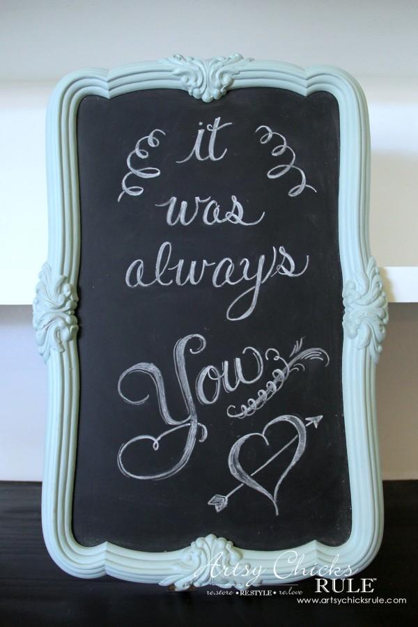 Thrify Mirror to Chalkboard - Chalk Art made- EASY - artsychicksrule #chalkart #chalkboard