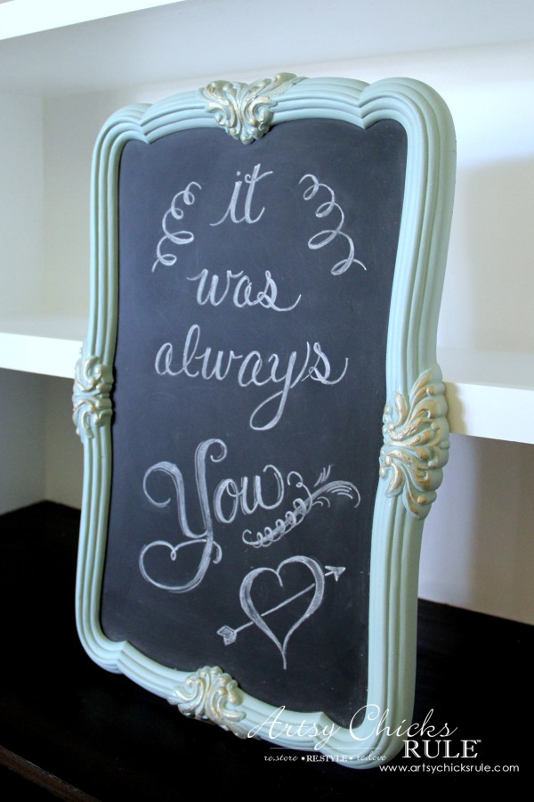 Thrify Mirror to Chalkboard - Chalkboard Paint - add Chalk Lettering and done - artsychicksrule #chalkart #chalkboard