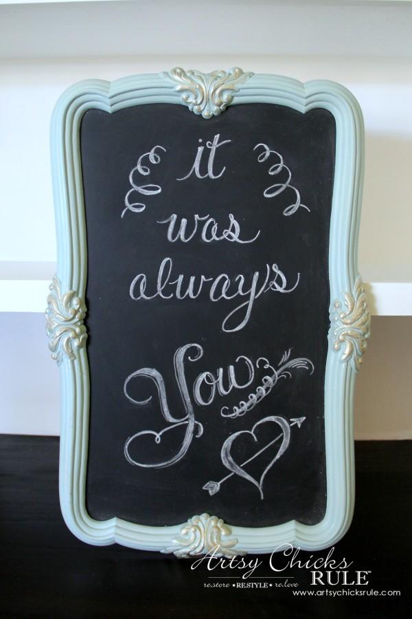 Thrify Mirror to Chalkboard - Paint the backside of the mirror with Chalkboard Paint - Paint Frame and done! - artsychicksrule #chalkart #chalkboard