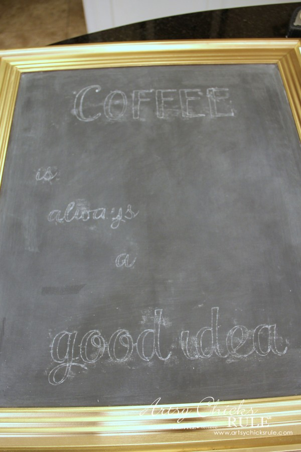 Chalkboard (repurposed framed print) to Coffee Bar Menu Board - CHALK ART - artsychicksrule #chalkboard #coffeebar