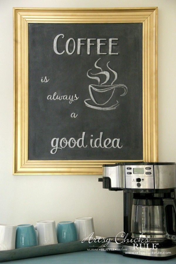 Chalkboard (repurposed framed print) to Coffee Bar Menu Board - COFFEE BAR BOARD - artsychicksrule #chalkboard #coffeebar