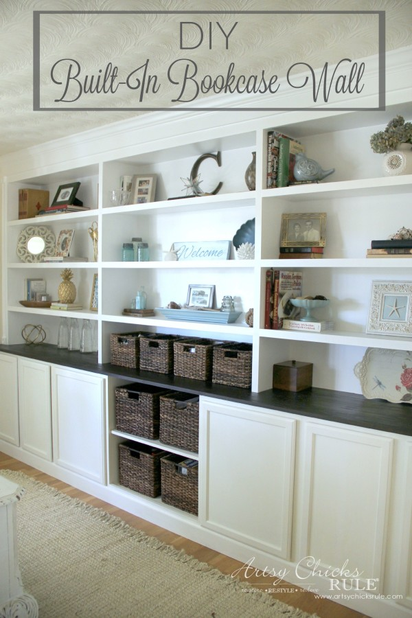 Diy built in bookcase reveal artsy chicks rule for Building kitchen cabinets book