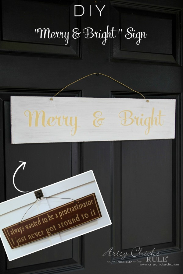 DIY Merry and Bright Sign - Thrifty Makeover TRANSFORMED - artsychicksrule