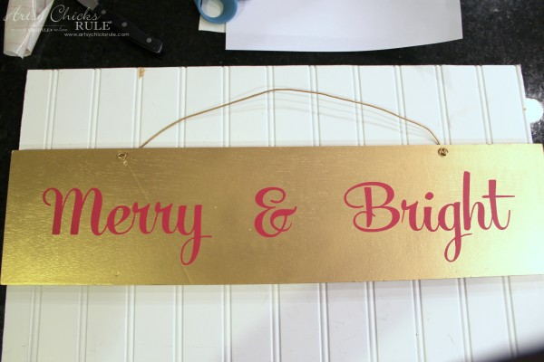 EASY DIY Merry and Bright Sign - Thrifty Makeover Attach letters to gold board - artsychicksrule