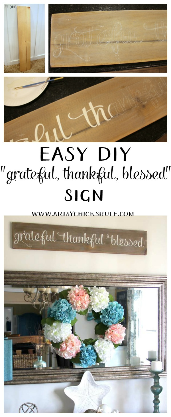 Make this!! So easy, love it! Grateful, Thankful, Blessed Sign artsychicksrule.com