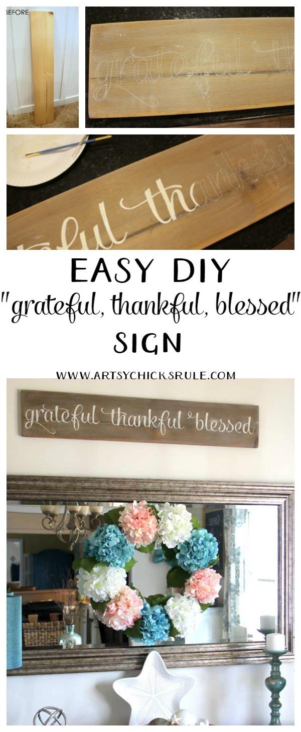 Make this!! So easy, love it! Grateful, Thankful, Blessed Sign artsychicksrule.com