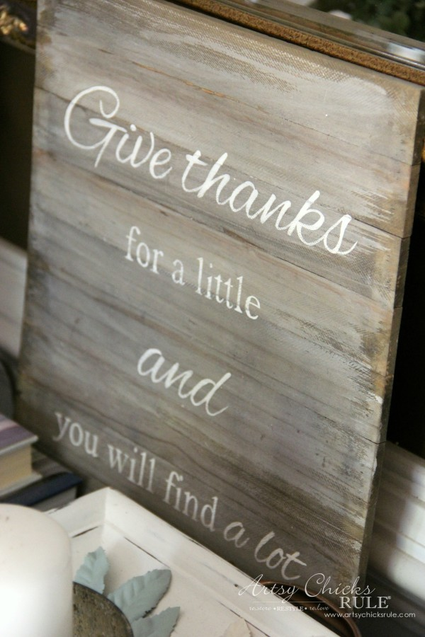 Thanksgiving Foyer - DIY Faux Weathered Sign - artsychicksrule
