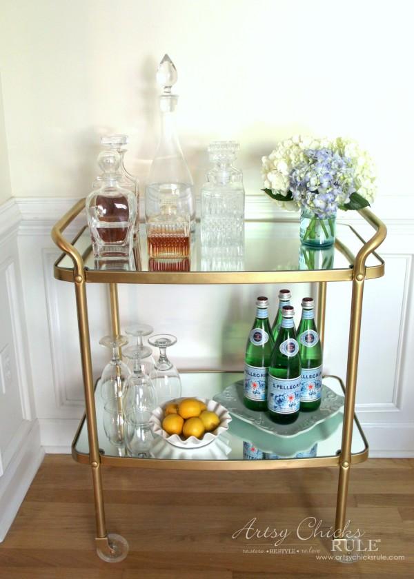 Beverage Cart Goes Glam (Trash to Treasure) - AFTER MAKEOVER - artsyhchicksrule #beveragecart